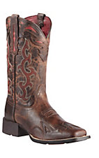 Ariat Sidekick Women's Sassy Brown w/ Red Embroidery Wide Square Toe Western Boot