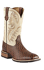 Ariat Quickdraw Mens Chestnut Elephant Print w/ Cream Top Square Toe Western Boot