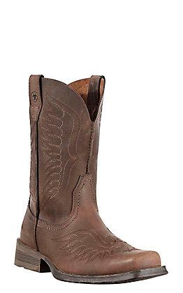 Ariat Rambler Phoenix Men's Distressed Brown Wide Square Toe Western Boots