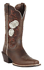 Ariat Rosebud Women's Distressed Brown w/ Rose Embroidered Upper Square Toe Western Boot