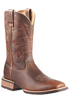 XKH Ariat Quickdraw Men's Brown with Totem Top Wide Square Toe Western Boots