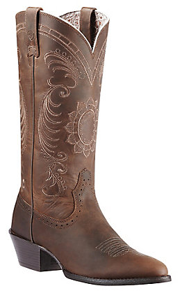 Ariat Women's Magnolia Distressed Brown Heritage R-Toe Traditional Toe Western Boots