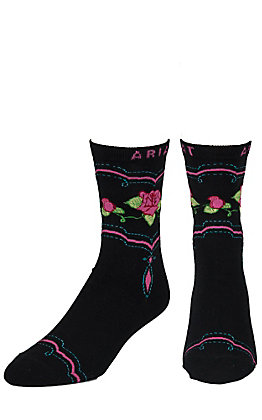 Ariat Women's Black Western Rose Socks