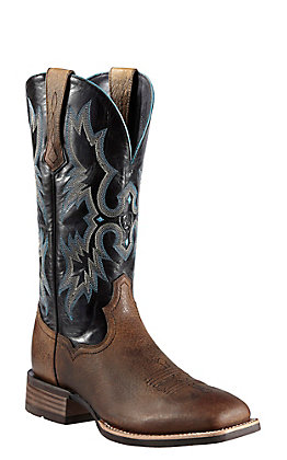 Ariat Tombstone Men's Earth Brown with Black Top Double Welt Square Toe Western Boots