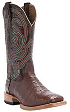 Ariat Men's Stillwater Cinnamon Brown Caiman Belly Double Welt Square Toe Western Exotic Boots