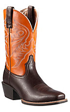 Ariat Men's Rome Brown with Burnt Orange Top Brumby Sport Punchy Square Toe Western Boots