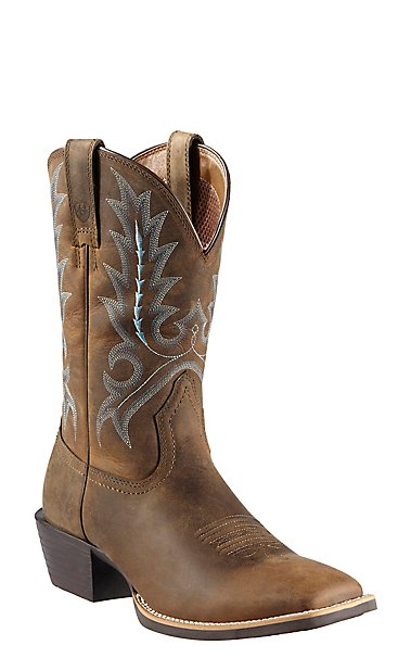 Ariat Sport Outfitter Mens Distressed Brown Double Welt Square Toe Western  Boots  Cavenders