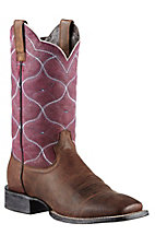 Ariat Honky Tonk Collection Men's Weathered Brown w/Vino Top Big City Double Welt Square Toe Western Boots