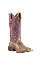 Ariat Honky Tonk Collection Ladies Desert Dune Tan w/Vino Top Big City Double Welt Square Toe Western Boots