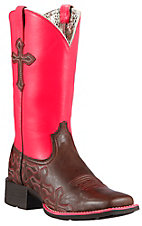Ariat Crossroads Women's Rich Chocolate w/ Neon Pink Top & Crosses Double Welt Square Toe Western Boots