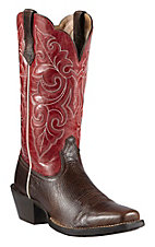 Ariat Ladies' Washed Brown w/Red Roundup Top Punchy Square Toe Western Boots