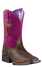 Ariat Crossroads Kids Distressed Brown w/Fuschia Top Wide Square Toe Western Boots