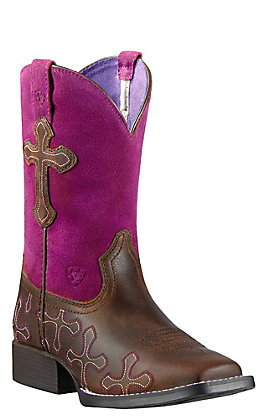 Ariat Kids Crossroads Distressed Brown and Fuschia Wide Square Toe Western Boots