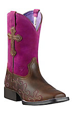Ariat Crossroads Youth Distressed Brown w/Fuschia Top Wide Square Toe Western Boots