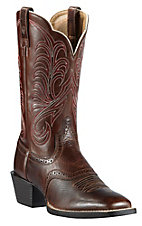 Ariat Ladies Fiddle Brown Mesquite Saddle Vamp Double Welt Square Toe Western Boots
