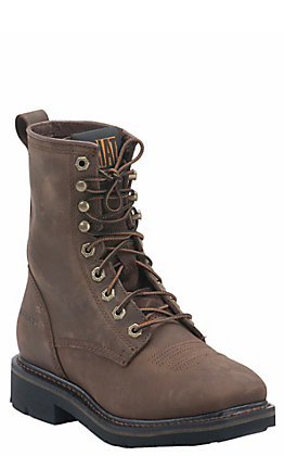 Ariat Men's Cascade Alamo Brown Wide Square Toe Lace Up Work Boot