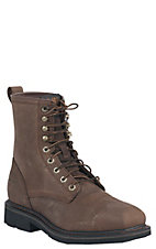 Ariat Men's Alamo Brown Cascade Wide Square Steel Toe 8in Lace Up Work Boot