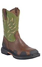 Ariat Overdrive Men's Toast Brown w/ Lime Square Toe Western Work Boots