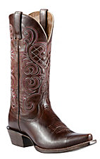 Ariat Honky Tonk Collection Women's Bright Lights Mahogany Dress Leather Snip Toe Western Boots