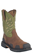 Ariat Overdrive Men's Toast Brown w/ Lime Square Composite Toe Western Work Boots