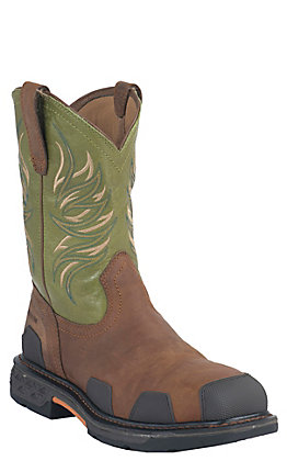 Ariat Men's Overdrive Toast Brown and Lime Square Composite Toe Work Boot
