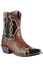 Ariat Andalusia Collection Women's Sassy Brown w/Cocoa Lizard Print Nova Snip Toe Western Boots