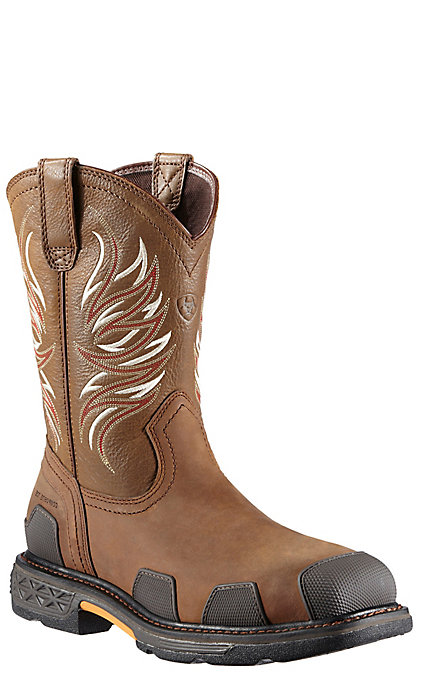 e7917084ee7 Ariat Overdrive Men's Alamo Brown Square Composite Toe Western Work Boots