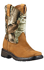 Ariat WorkHog Youth Aged Bark w/Camo Top Wide Square Toe Western Boots