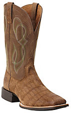 Ariat Quantum Brander Men's Tan Gator Print with Brown Top Square Toe Western Boots