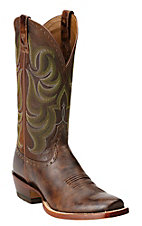 Ariat Turnback Men's Weathered Buckskin w/ Brown Top Double Welt Square Toe Western Boots