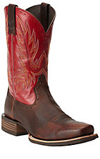 Ariat Crossbred Men's Brown Oiled Rowdy with Mega Red Top Punchy Square Toe Western Boots