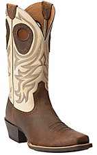Ariat Razorback Men's Earth Brown w/ Cream Top Square Toe Western Boots