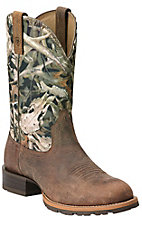 Ariat Hybrid Rancher Men's Distressed Brown with Bonz Camo Top Round Toe Western Boot