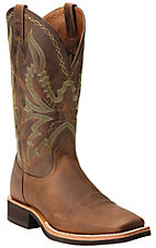 Ariat Quantum Brander Men's Distressed Brown Square Toe Crepe Sole Western Boots