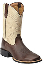 Ariat Sport Men's Brown with Bone Top Square Toe Western Boot