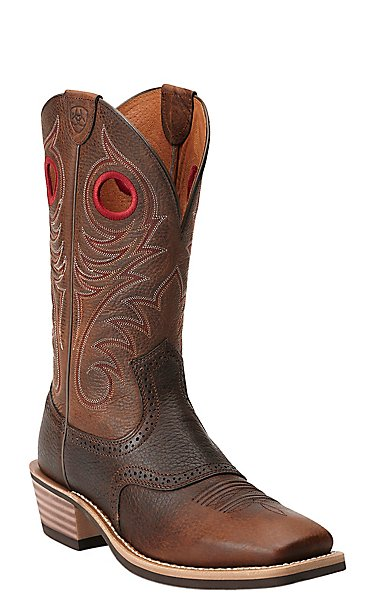Ariat Heritage Roughstock Men's Brown Oiled Rowdy Square Toe ...