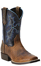 Ariat Tombstone Children's Earth Brown w/ Black Top Square Toe Western Boots