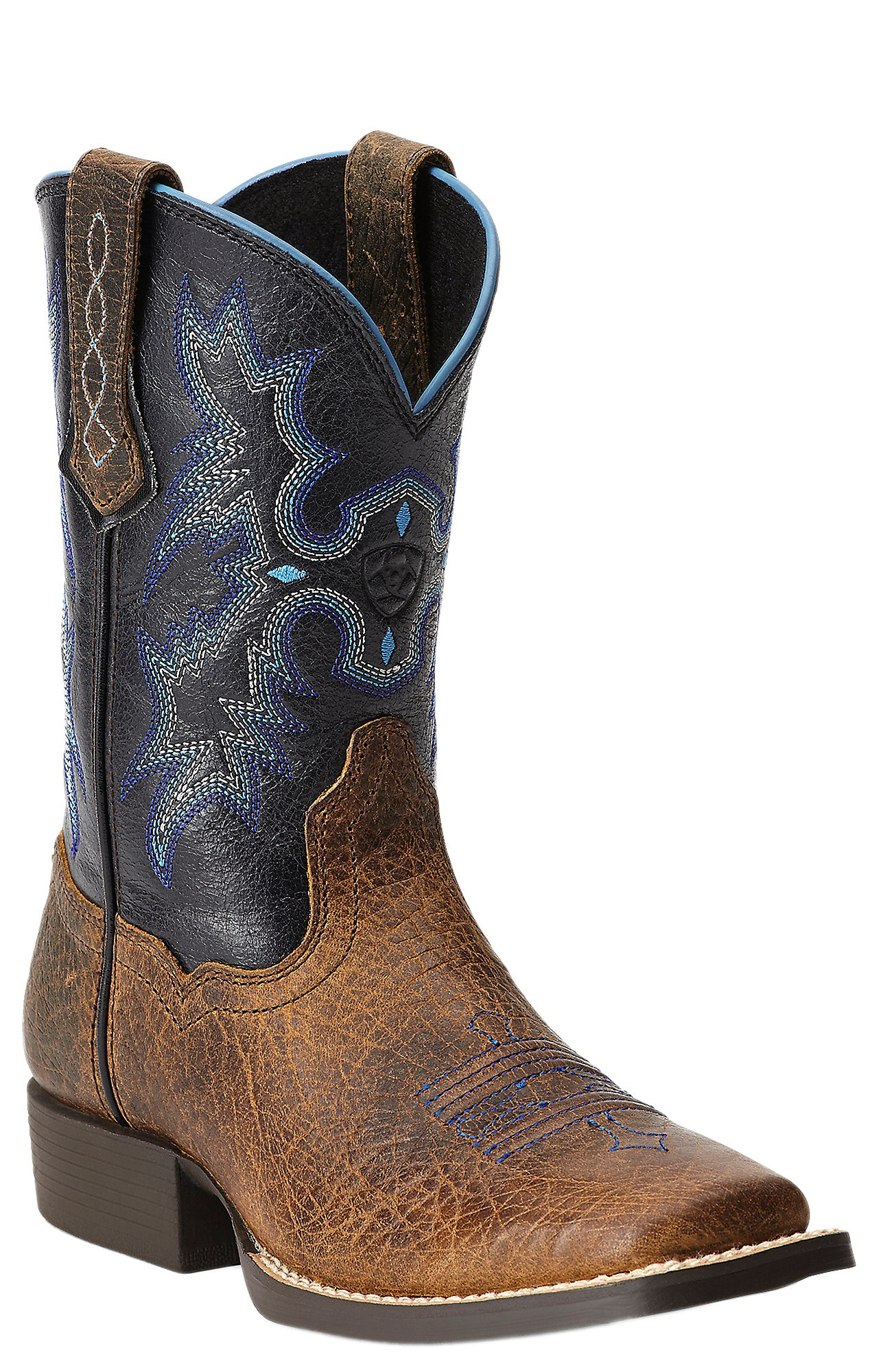 Ariat Tombstone Youth Earth Brown w/ Black Top Square Toe Western ...