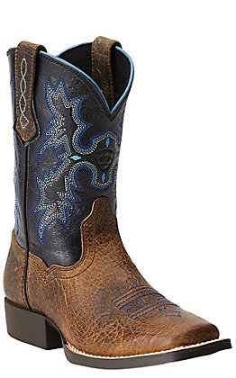 Ariat Tombstone Youth Earth Brown with Black Top Square Toe Western Boots