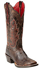 Ariat Caballera Women's Antique Espresso Brown Square Toe Wingtip Western Boots