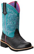 Ariat Women's Black Deertan w/ Turquoise Top Cowgirl Tall Fatbaby Western Boot