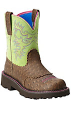 Ariat Fatbaby Women's Distressed Brown Ostrich Print with Lime Top Boots