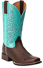 Ariat Rundown Brown Oiled Rowdy with Turquoise Top Punchy Square Toe Western Boots