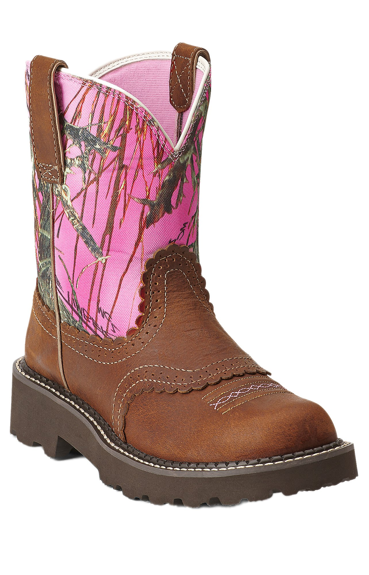 Ariat Fatbaby Women's Tanned Copper with Pink Camo Top Boots ...