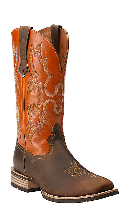 44de0579b86 Ariat Tombstone Men's Distressed Brown and Orange Wide Square Toe Western  Boots
