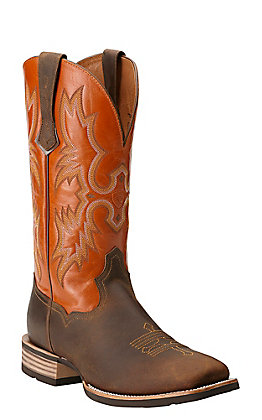 Ariat Tombstone Men's Distressed Brown and Orange Wide Square Toe Western Boots