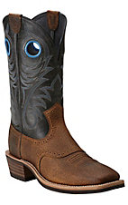 Ariat Heritage Roughstock Men's Earth Brown with Vintage Black Top Square Toe Western Boots