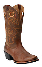Ariat Men's Fiddle Brown Sport Punchy Square Toe Western Boots