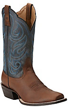 Ariat Men's Good Times Weathered Brown with Blue Lake Top Square Toe Western Boots