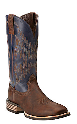 Ariat Men's Tycoon Bar Top Brown and Arizona Sky Wide Square Toe Western Boots